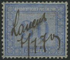 NDP 26~ , 1869, 30 Gr. Graublau, Handschriftlich Lauenb., Pracht, Mi. 170.-