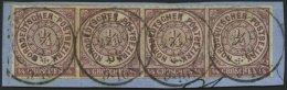 NDP 1a BrfStk, 1868, 1/4 Gr. Braunviolett Im Waagerechten Viererstreifen, Zentrischer K2 COELN, Prachtbriefstück, M