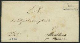 SCHLESWIG-HOLSTEIN 1852, K.D.S. Aus KIEL (R2) Nach Mehlbeck, Rückseitiges Lacksiegel Departement Des J.... Rn, Brie