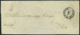 SCHLESWIG-HOLSTEIN 1850, Brief Von Kiel Nach Heide Mit K2 BAHNHOF KIELER ZI, Handschriftlich Militariapost, Rücksei