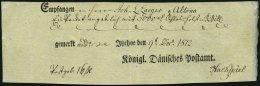 SCHLESWIG-HOLSTEIN 1812, Postschein Mit Ortsdruck Itzehoe, Pracht
