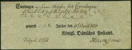 SCHLESWIG-HOLSTEIN 1810, Postschein Mit Ortsdruck Itzehoe, Pracht
