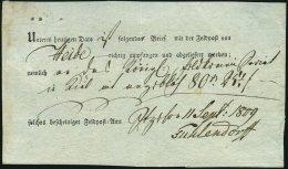 SCHLESWIG-HOLSTEIN 1809, Postschein Vom Feldpostamt Itzehoe (handschriftlich) über Einen Brief Aus Heide, Pracht