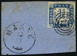 SCHLESWIG-HOLSTEIN 7 BrfStk, 172 (MARNE) Auf 11/4 S. Mittelblau/weißrosa, Prachtbriefstück Mit Nebenstempel