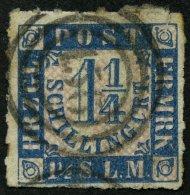 SCHLESWIG-HOLSTEIN 7 O, 156 (HANERAU) Auf 11/4 S. Mittelblau/weißrosa, Marke Fehlerhaft