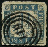 SCHLESWIG-HOLSTEIN 7 O, 149 (MÖLLN) Auf 11/4 S. Mittelblau/weißrosa, Feinst (Eckbug)