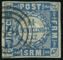 SCHLESWIG-HOLSTEIN 6 O, 142 (HORST) Auf 11/4 S. Grauultramarin, Pracht, R!
