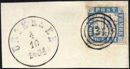 SCHLESWIG-HOLSTEIN 7 BrfStk, 134 (UETERSEN) Auf 11/4 S. Grauultramarin/weißrosa Auf Briefstück Mit Nebenstemp