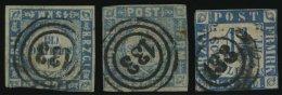 SCHLESWIG-HOLSTEIN 5I,6,7 O, 133 (SEGEBERG) Auf 11/4 S. Grauultramarin Und Mittelblau/weißrosa, 3 Werte Mit Klaren