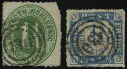 SCHLESWIG-HOLSTEIN 4,7 O, 130 (PLÖN) Auf 11/4 S. Dunkelgelblichgrün Und 11/4 S. Mittelblau, 2 Werte Feinst