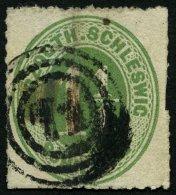 SCHLESWIG-HOLSTEIN 4 O, 71 (SONDERBURG) Auf 11/4 S. Gelblichgrün, Marke Mängel