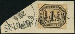 SCHLESWIG-HOLSTEIN NDP D 4 BrfStk, SCHWARZENBECK, L1 Auf Briefstück Mit 1 Gr. Schwarz/mattorangerot, Nebenstempel S