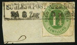 SCHLESWIG-HOLSTEIN 9 BrfStk, SCHLESW.POST-SPED.BUR (nördlich), R2 Auf 11/4 S. Olivgrün Auf Briefstück, Fe
