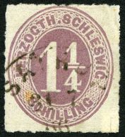 SCHLESWIG-HOLSTEIN 14 O, SATRUP, K1 Auf 11/4 S. Rosalila, Marke Mängel
