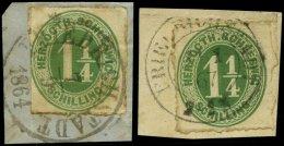 SCHLESWIG-HOLSTEIN 4 BrfStk, FRIEDRICHSTADT, K1 Und K2 Auf 11/4 S. Dunkelgelblichgrün, 2 Briefstücke Feinst/Pr