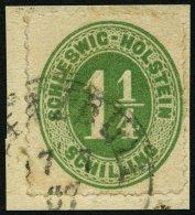 SCHLESWIG-HOLSTEIN 9 BrfStk, DEETZBÜLL, K1 Auf 11/4 S. Olivgrün Auf Briefstück, Feinst