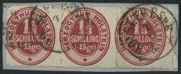 SCHLESWIG-HOLSTEIN 23 BrfStk, 1865, 1 1/3 S. Lebhaftrotkarmin Im Waagerechten Dreierstreifen, K1 HOLST.EB.P.SpB. 3. ZUG,