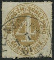 SCHLESWIG-HOLSTEIN 17 O, 1865, 4 S. Braunocker, K1 FLENSBURG, Pracht, Mi. 100.-