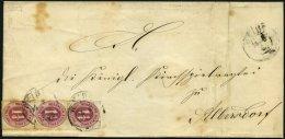 SCHLESWIG-HOLSTEIN 18a BRIEF, 1867, 11/4 S. Lebhaftrötlichlila Im Senkrechten Dreierstreifen (untere Marke Einri&sz