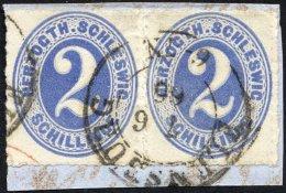 SCHLESWIG-HOLSTEIN 16 Paar BrfStk, 1865, 2 S. Grauultramarin Im Waagerechten Paar, K2 FLENSBURG, Prachtbriefstück