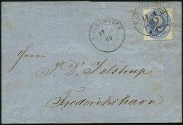 SCHLESWIG-HOLSTEIN 11 BRIEF, 1865, 2 S. Grauultramarin, Prachtstück Auf Nicht Ganz Perfektem Brief Von NEUMÜNS