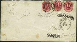 SCHLESWIG-HOLSTEIN 15 BRIEF, 1867, 1 1/3 S. Rosa, 3x Auf Brief Von FLENSBURG Nach Berlin, Feinst (Name Unkenntlich Gemac