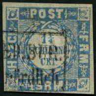 SCHLESWIG-HOLSTEIN 6 O, 1864, 11/4 S. Grauultramarin, K1 HOLST.EB.P.SP.B. Nördlich, Unten Links Knapp Sonst Vollran