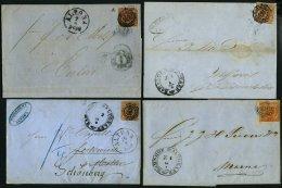 SCHLESWIG-HOLSTEIN DK 4,7 BRIEF, 169 (ALTONA, BAHNHOF) Auf 4 S. Punktiert (3x) Und 4 S. Liniert (4x), 7 Briefe In Unters