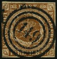 SCHLESWIG-HOLSTEIN DK 1IIb O, 149 (MÖLLN) Auf 4 RBS Gelblichbraun, Links Leicht Berührt Sonst Pracht