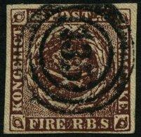 SCHLESWIG-HOLSTEIN DK 1IIa O, 135 (AHRENSBÖCK) Auf 4 RBS Rotbraun, Kleine Dünne Stelle Sonst Pracht