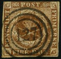 SCHLESWIG-HOLSTEIN DK 1IIb O, 127 (OLDENBURG) Auf 4 RBS Gelblichbraun, Oben Berührt Sonst Pracht