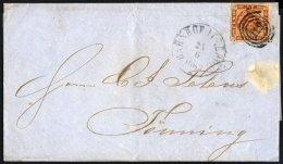 SCHLESWIG-HOLSTEIN DK 9 BRIEF, 119 (BAHNHOF ITZEHOE) Auf 4 S. Durchstochen, Brief Nach Tönning, Feinst
