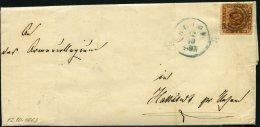 SCHLESWIG-HOLSTEIN DK 7 BRIEF, 117 (HEIDE) Auf 4 S. Orangebraun Mit Blauem Nebenstempel, Brief Nach Hattstedt, Feinst