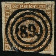 SCHLESWIG-HOLSTEIN DK 1IIb O, 89 (MARSTAL) Zentrisch Auf 4 RBS Gelblichbraun, Kleine Fehler Am Unterrand Sonst Pracht