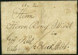 SCHLESWIG-HOLSTEIN - ALTBRIEFE 1785, Cito-Briefhülle Nach Blickstedt, Frey Kiel, Pracht