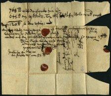 SCHLESWIG-HOLSTEIN - ALTBRIEFE 1661, Kleine Vollgeschriebene Briefhülle (wohl Rechnung) Nach Itzehoe, Pracht