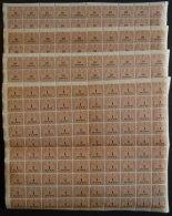 SACHSEN **, 1910, 10 Pf. - 100 Mk. Stempelmarken, Wz. Treppen, 9 Werte, Je Im Bogen (100) Postfrisch, Einige Wellig, R&a