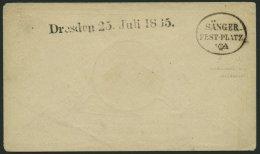 SACHSEN DRESDEN 25.JULI 1865, Schwarzer L1 Und K1 SÄNGER-FEST-PLATZ Auf Schmuckkuvert Des Sängerbundes (Typ. C