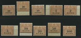 SACHSEN **, 1910, 10 Pf. - 100 Mk. Stempelmarken, Wz. Treppen, 10 Werte Postfrisch, Pracht