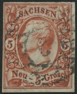 SACHSEN 12c O, 1856, 5 Ngr. Karminrosa, Pracht, Gepr. W. Engel, Mi. 150.-