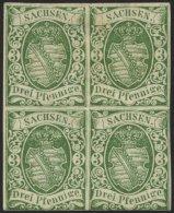 SACHSEN 2IIa VB *, 1851, 3 Pf. Saftiggrün, Späte Auflage, Im Viererblock, Unten Berührt Sonst Voll-breitr