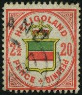 HELGOLAND 18f O, 1887, 20 Pf. Rotorange/gelb/graugrün, Rundstempel, Feinst, Gepr. C. Brettl, Mi. 80.-