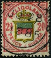 HELGOLAND 18d O, 1884, 20 Pf. Lebhaftrot/graugelb/graugrün, Seltener Rundstempel Type IV, Feinst, Fotobefund Schulz