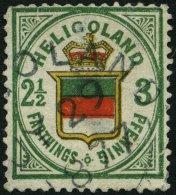 HELGOLAND 17b O, 1877, 3 Pf. Grün/orange/zinnoberrot, Rundstempel, Starke Mängel, Fein, Gepr. U.a. W. Engel, M