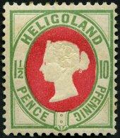 HELGOLAND 14d *, 1889, 10 Pf. Hellgrün/rot, Falzreste, Feinst, Mi. 180.-