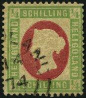 HELGOLAND 8F O, 1873, Fehldruck: 1/4 S. Grün/karmin, Rundstempel (25% Aufschlag!), Diverse Kleine Beanstandungen So