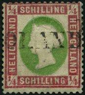 HELGOLAND 8b O, 1873, 1/4 S. Lilarosa/graugrün, L1, Stark Repariert, Gepr. Lemberger, Mi. 3000.-