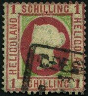 HELGOLAND 7d O, 1873, 1 S. Dunkelrötlichkarmin/mittelgelbgrün, R3 GEESTEMÜNDE ZOLLVEREIN, Starke Män
