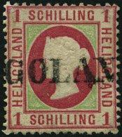 HELGOLAND 7c O, 1873, 1 S. Karmin/lebhaftgelblichgrün, L1, Kleine Korrekturen, Feinst, Mi. 380.-