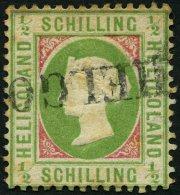 HELGOLAND 6e O, 1872, 1/2 S. Hellolivgrün/karmin, L1, Stockig, Feinst, Signiert Richter